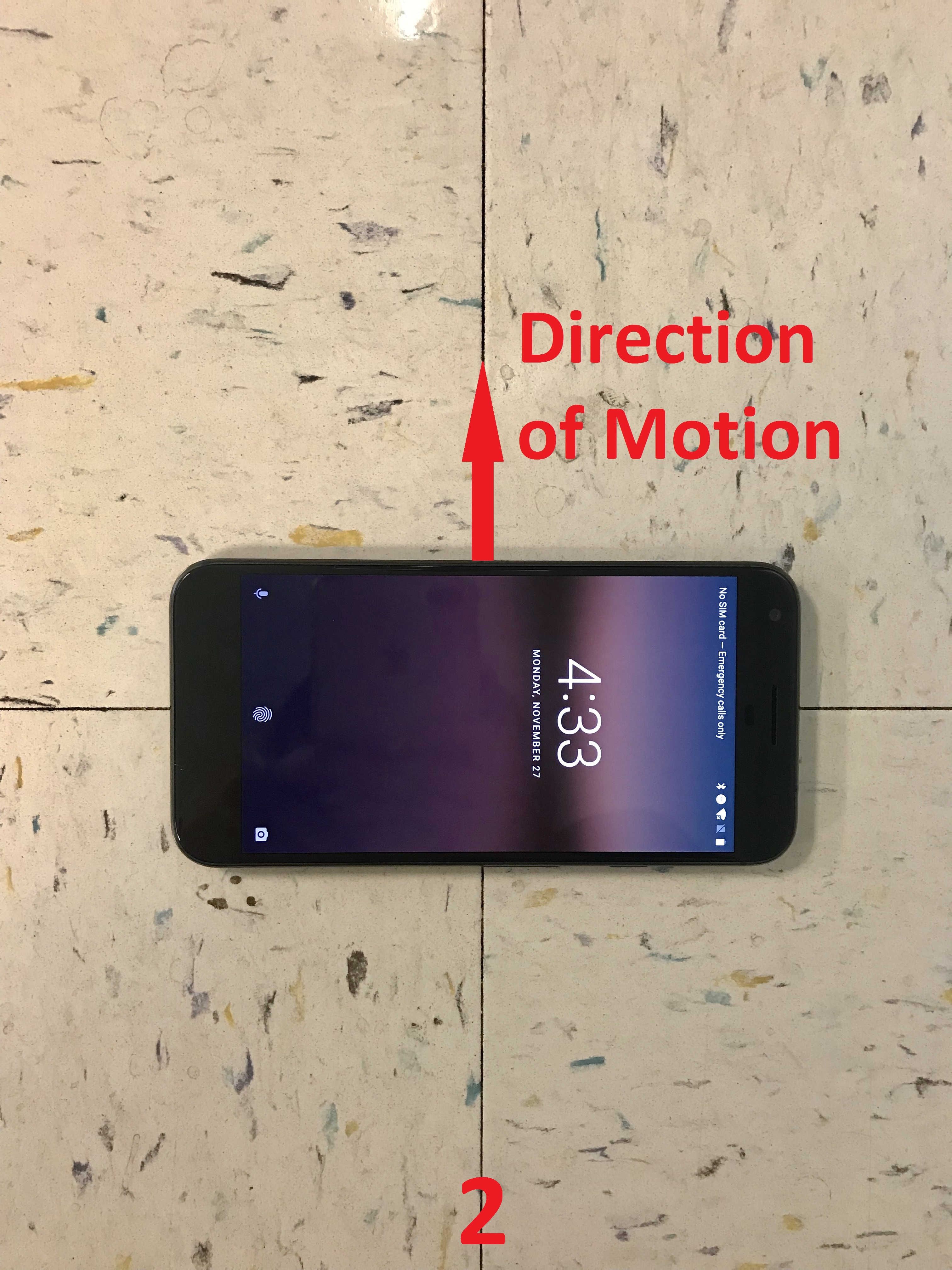 The y-axis of the phone pointing to the right (by 90 degrees) of the direction of motion