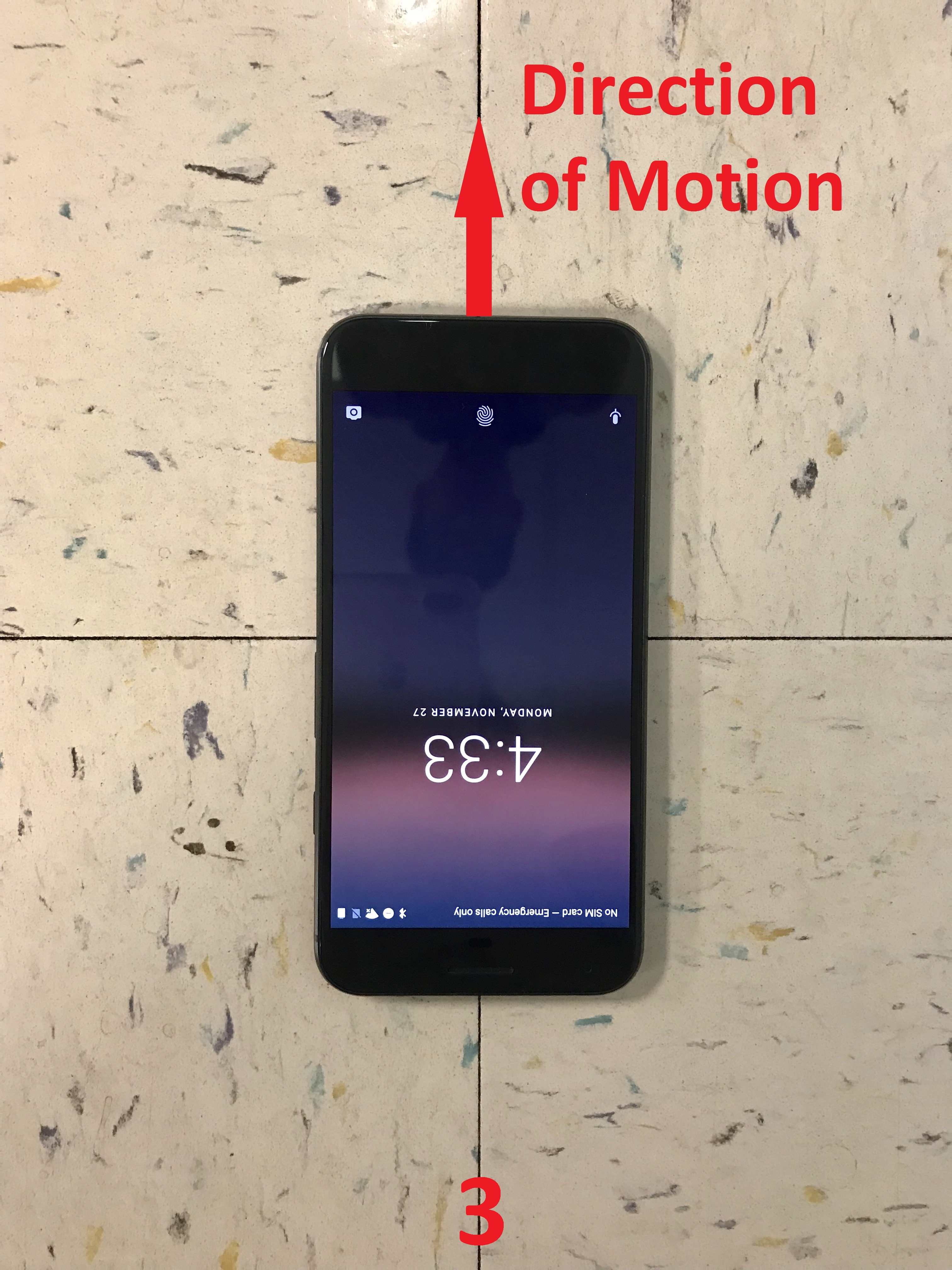 The y-axis of the phone pointing in the opposite to the direction of motion
