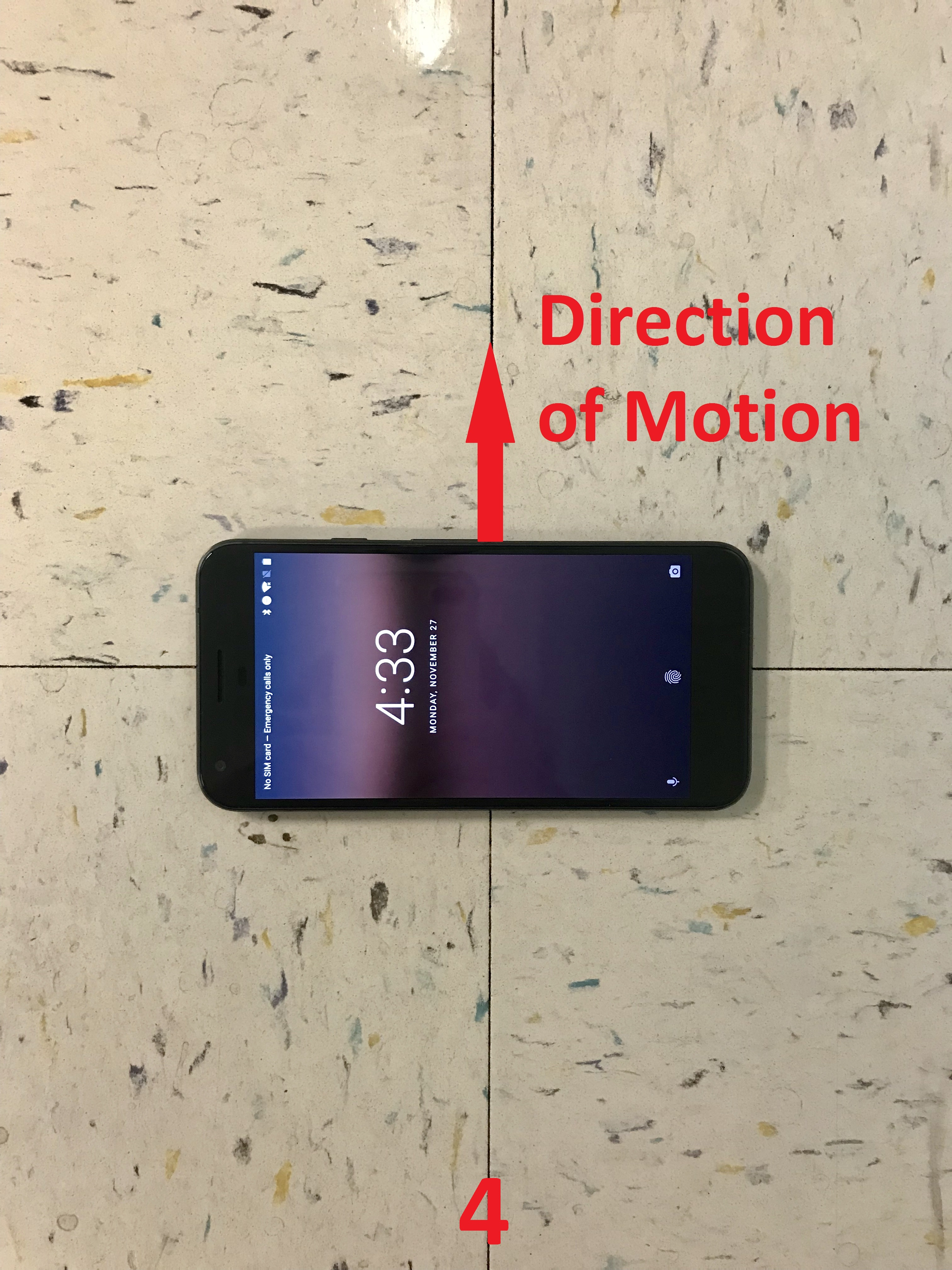 The y-axis of the phone pointing to the left (by 90 degrees) of direction of motion