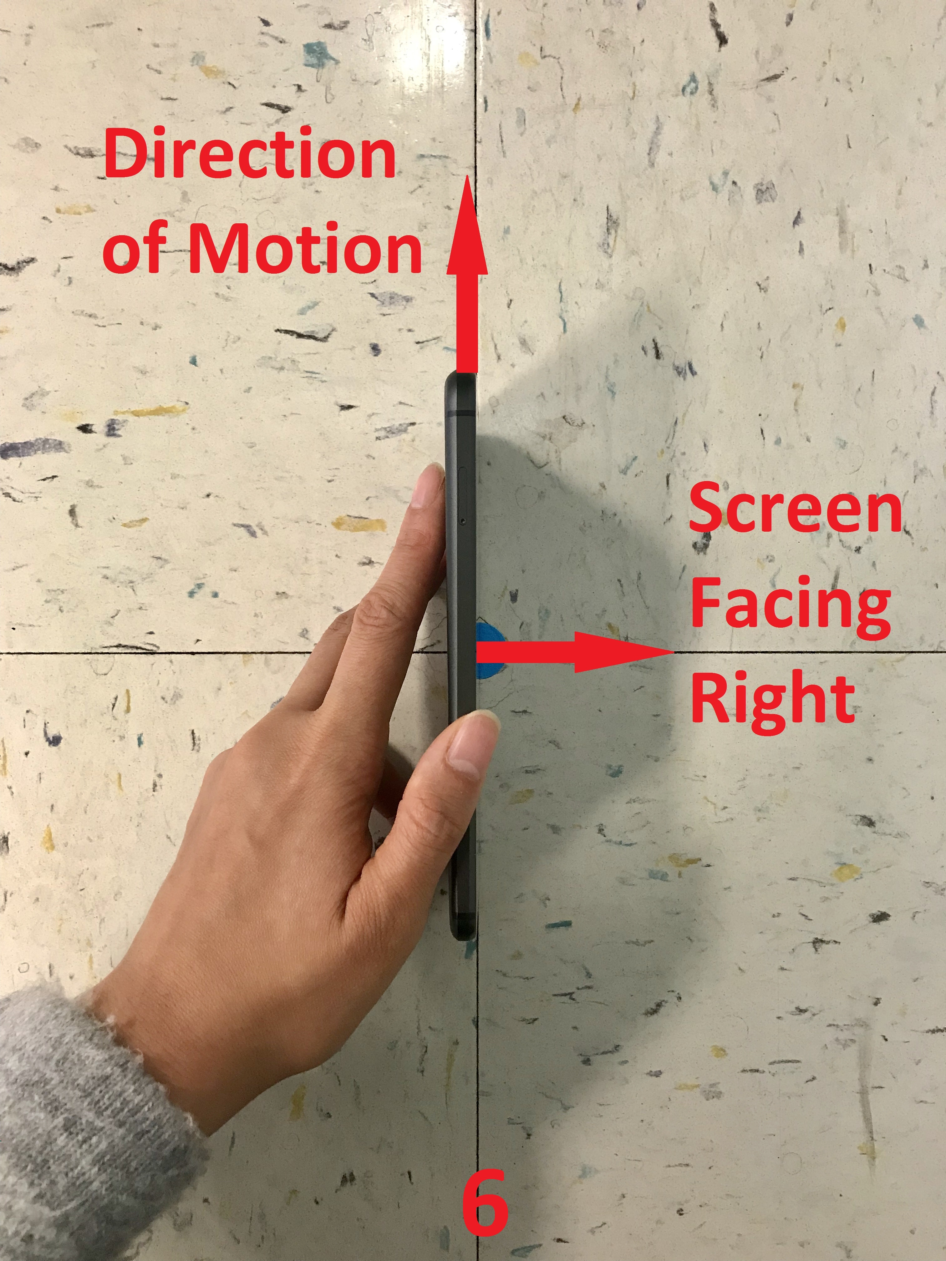 The y-axis of the phone pointing in the direction of motion with the screen facing to the right